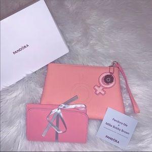 Pandora wristlet pink bag collectors gold detail